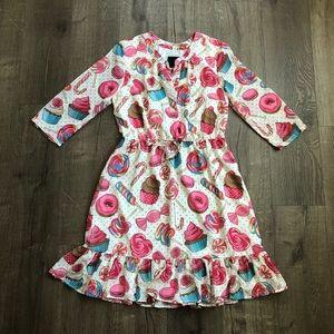ModCloth Chiffon Shirt Dress 3/4 Sleeve  Sweets